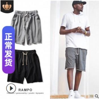 欧美男式短裤直筒休闲运动裤2019夏季新款潮牌宽松纯色弹力五分裤