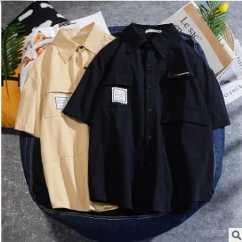 日系工装短袖衬衫男士2020春夏新款卡其色五分袖中袖衬衣薄外套男