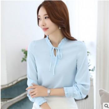新款女装衬衣蝴蝶结领荷叶边雪纺衫女上衣衬衫长袖打底衫