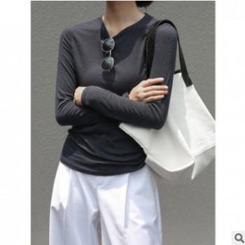 女式针织衫2020秋季新款圆领针织天丝休闲打底衫百搭毛织上衣6388