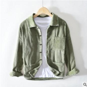 复古灯芯绒衬衫长袖男士秋冬保暖纯棉宽松休闲衬衣青年条绒厚外套