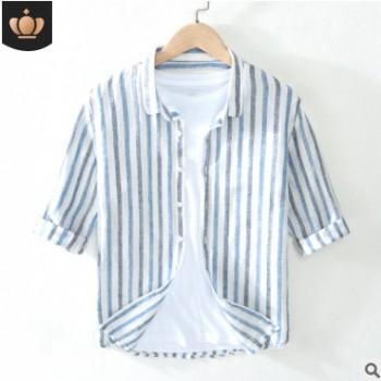小清新条纹亚麻衬衫男士休闲方领麻料中袖宽松夏天青年棉麻七分袖
