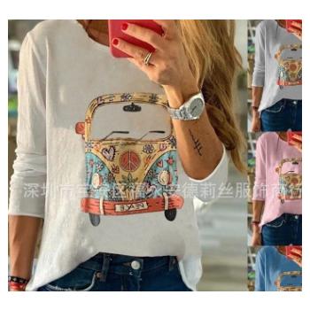 跨境2019秋季速卖通wish欧美女士长袖胸前印花T恤多色多码 现货