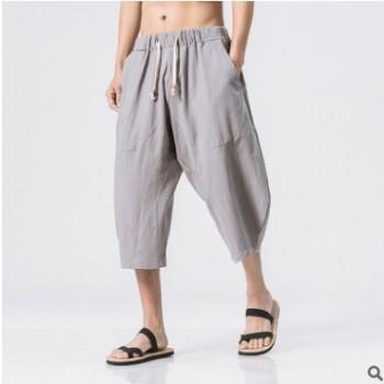 厂家直发 中国风大码哈伦裤 亚麻裤子 系带纯色棉麻七分裤 跨境款