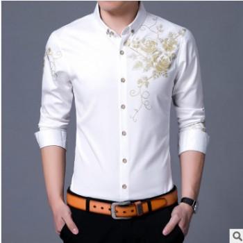 春秋季新款韩版大码衬衫男士花开衫长袖时尚都市收身翻领休闲衬衣