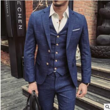 淘宝男士西服套装春秋新款两粒扣三件套装男式韩版修身新郎西装