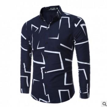 速卖通新款男士长袖衬衫 几何印花男装衬衣 休闲男式衬衫批发