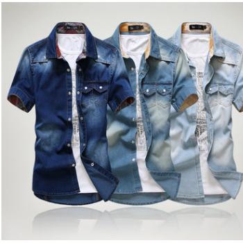 2018男士新款牛仔短袖衬衫 潮流修身短袖衬衣 男装双口袋衬衣