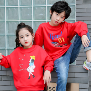 儿童韩版卫衣秋冬新款男女童套头长袖T恤休闲时尚外套加绒代发