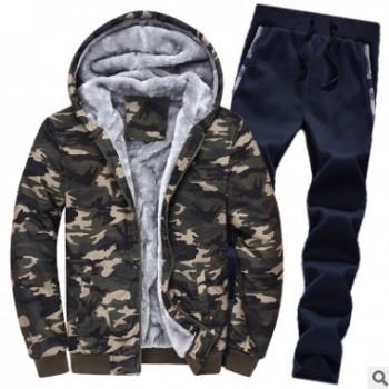 冬装新款加绒男运动服卫衣套装特大码修身加厚保暖迷彩服一件代发