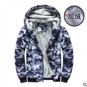 秋冬新款男装加绒迷彩卫衣潮流男士英伦大码宽松加厚保暖外套D109