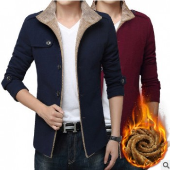 冬季青年男装棉衣韩版修身连帽加厚加绒保暖外套中长呢大衣潮上衣