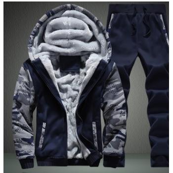 厂家直销冬季加绒加厚套装男青少年连帽两件套运动卫衣套装JC