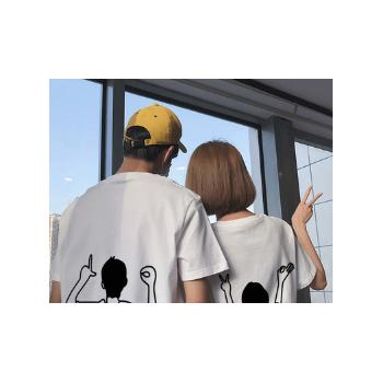 很仙的情侣装夏装情侣款法式春装短袖同色系春秋季小众设计感T恤