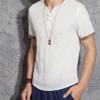 夏天超薄款亚麻半袖衫男士棉麻料短袖t恤中国风大码宽松男装上衣T
