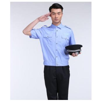 夏季服短袖衬衣蓝色男安保制服工作服物业小区新式保安服装