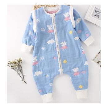 婴儿纯棉6层纱布分腿睡袋春秋宝宝空调防踢被可拆袖睡袋工厂批发