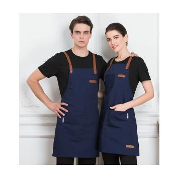 帆布挂脖调节围裙定制LOGO火锅店烧烤厨房师奶茶服务员工作服围裙