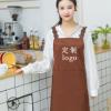 韩版背带黑色围裙防水秋冬季工作围裙定做logo定制l围裙印logo