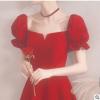大气敬酒服新娘2020新款平时可穿法式酒红色结婚小晚礼服裙女宴会