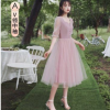 伴娘服粉色中长款2020年新款秋款伴娘团礼服女仙气质显瘦平时可穿