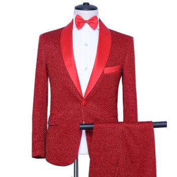 量大价优 质量保障 男士西服 歌手 舞台 演出 青果领 礼服