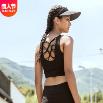 跑步健身瑜伽背心性感细带美背瑜伽上衣吸汗速干运动文胸厂家直销