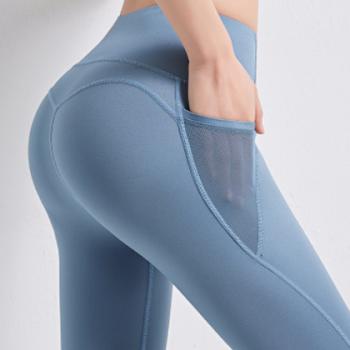 新款提臀高腰蜜桃臀健身裤无痕口袋瑜伽小脚紧身网纱拼接运动裤女