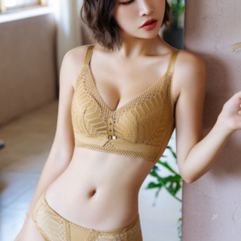 新款莫代尔内衣套装舒适透气蕾丝无钢圈文胸聚拢收副乳无痕胸罩女