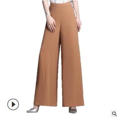 2020夏季新款外贸OL气质韩版女装雪纺阔腿裤女薄款休闲裤舞裤 女