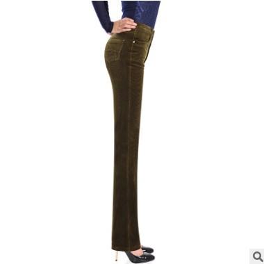 2020休闲裤女秋冬新款弹力灯芯绒条绒直筒裤加厚保暖纯色高腰长裤