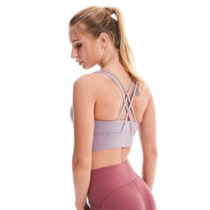 新款瑜伽运动内衣女防震 跑步健身背心式 无钢圈运动文胸