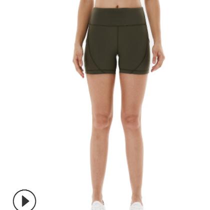 新款瑜伽短裤女 紧身高腰带口袋防走光健身裤 跑步运动瑜伽裤批发