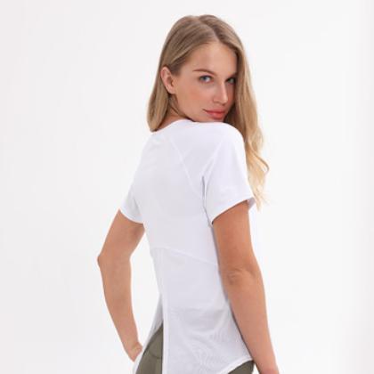 新款瑜伽短袖t恤女 网纱拼接透气速干健身衣 运动休闲百搭瑜伽服