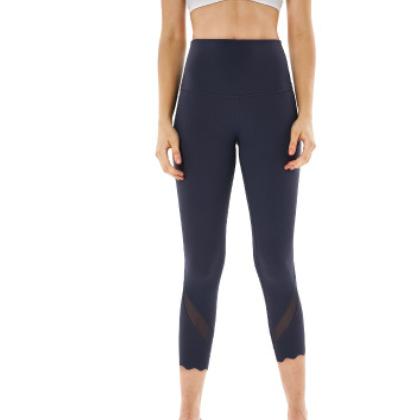 新款高腰瑜伽七分裤女 网纱拼接吸湿排汗运动裤 健身瑜伽裤批发