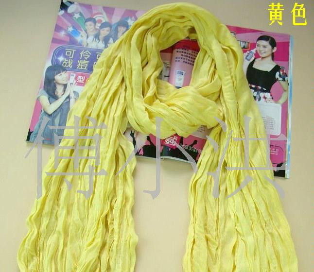 日韩褶皱围巾 棉麻褶皱围巾 2010新款围巾