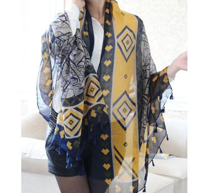韩国围巾外贸原单 不规则几何流苏坠棉麻女围巾 防晒披肩围巾
