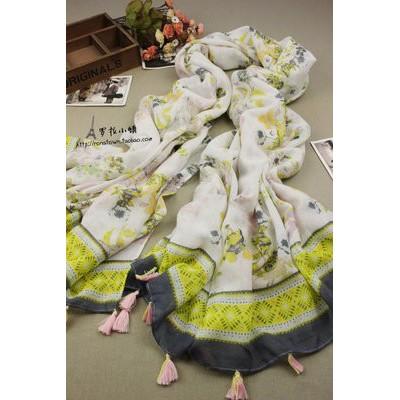 韩版围巾新款外贸棉麻巴厘纱花卉大丽花披肩民族秋冬围巾厂家批发