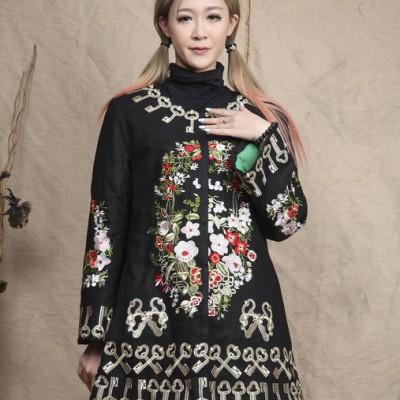 卷珠帘 2014秋冬新品女装欧式重工刺绣中国风棉麻刺绣棉衣外