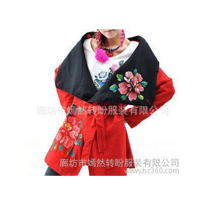 不退换百变闺秀 @秋冬新款棉麻手绘多种穿法风衣外套