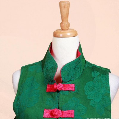 秋冬新款 暗花棉麻手工盘扣长款马夹 绣花马甲 女式刺绣中式上