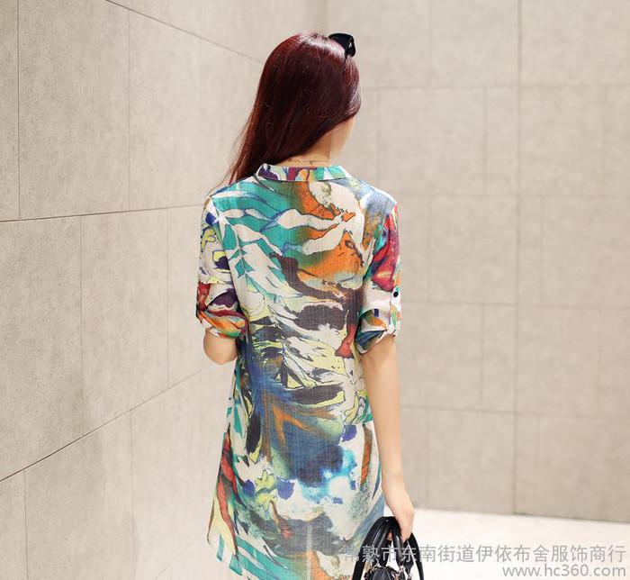 2015春夏新款韩版休闲大码女士棉麻中长款衬衫印花中袖衬衣裙