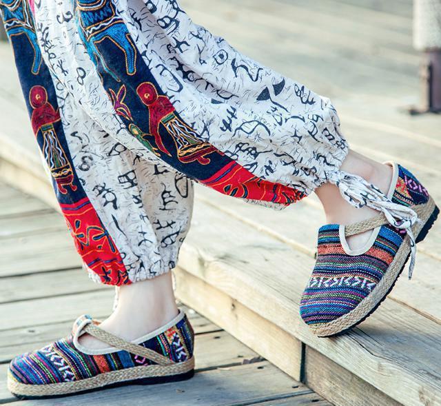 印度民族风草鞋纯手工棉麻亚麻云南草编唐之舞文艺情侣复古男女鞋