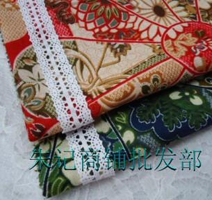 棉麻大风车红 蓝布料(宽幅148) 民族风服装布料