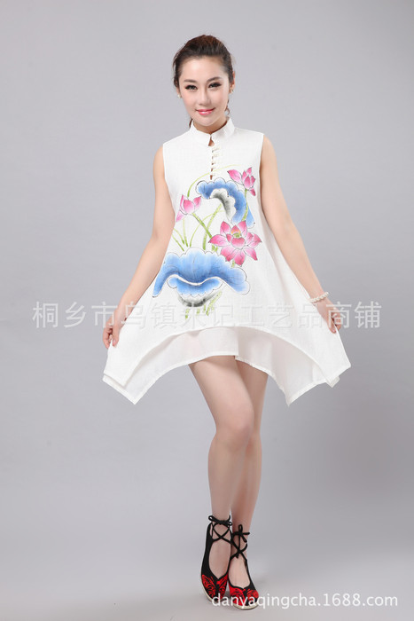 乌镇朱记民族风 中国风手绘棉麻盘扣立领荷花牡丹无袖背心裙