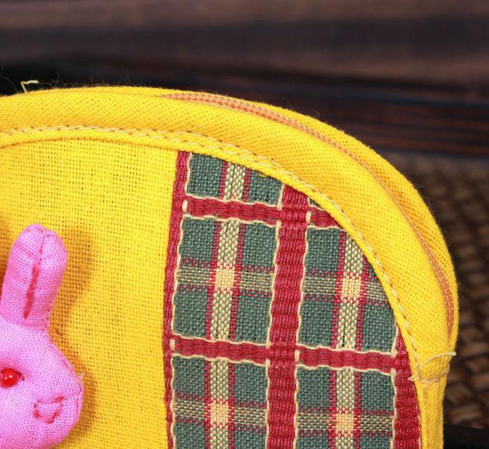 棉麻手工布艺钱包 撞色兔兔先生 可爱零钱包 多色