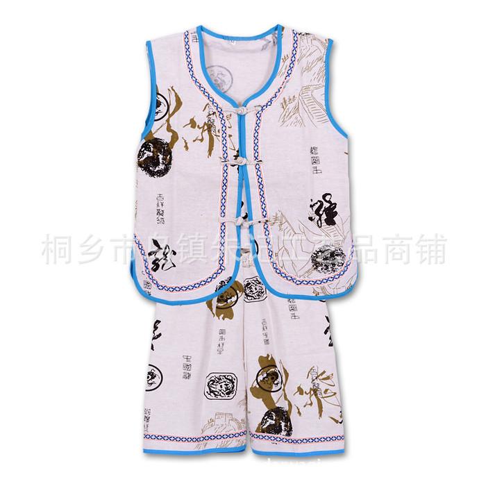 夏季童装 龙腾中国风男童儿童夏装无袖短裤棉麻唐装套装 宝宝唐