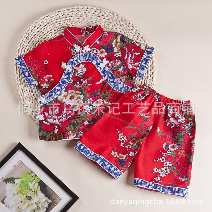 江南朱记 蓝印花布系列 民族风特色儿童服装 棉麻女童套装