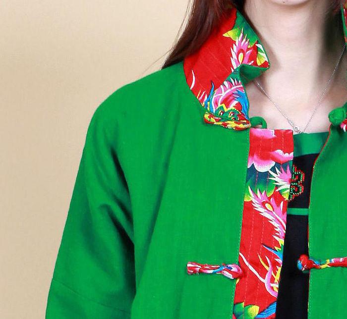 民族风原创女装 棉麻印花布两面可穿长款外套 秋冬上衣 多色