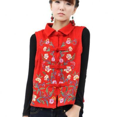 小花朵小马甲民族风女装秋冬 中式改良棉麻提花短款刺绣花马甲